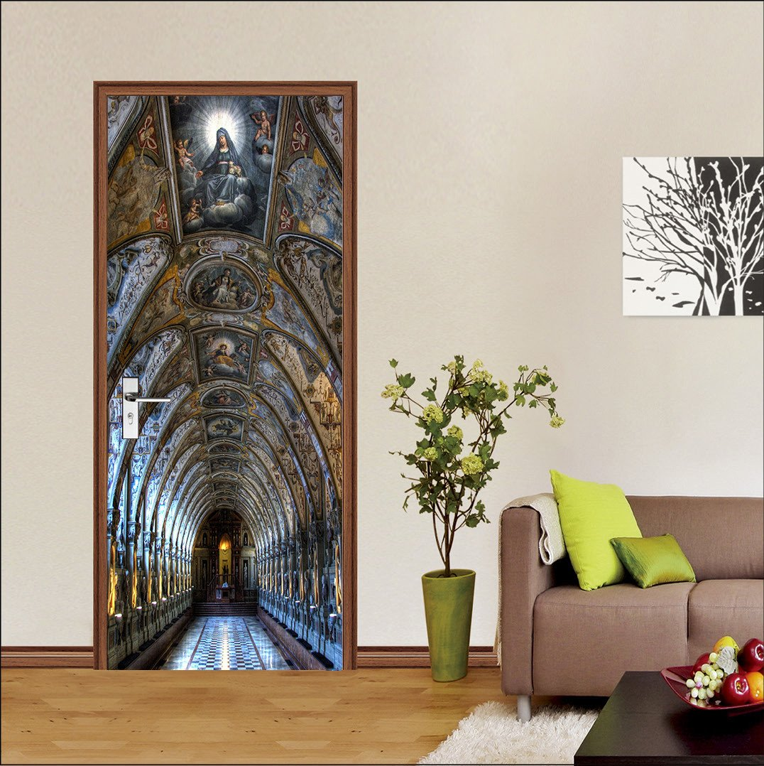 3D classical painting dome corridor door mural Wallpaper AJ Wallpaper