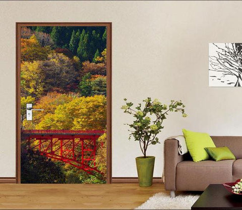 3D natural forest cable car door mural Wallpaper AJ Wallpaper