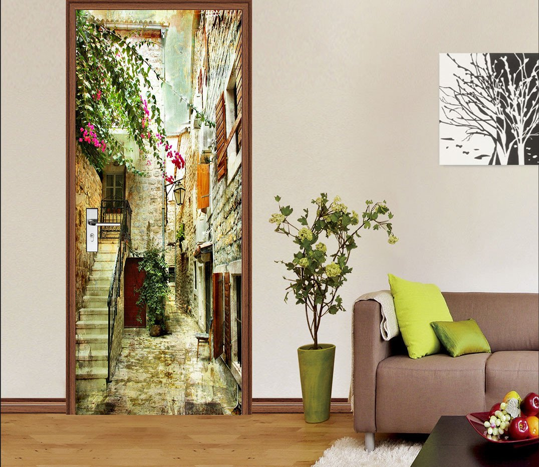 3D wall flower stairs street door mural Wallpaper AJ Wallpaper