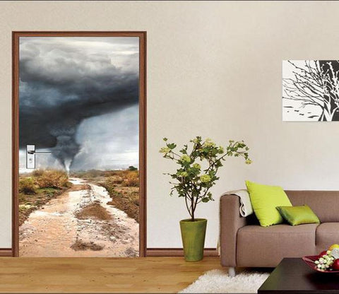 3D grassland tornado door mural Wallpaper AJ Wallpaper