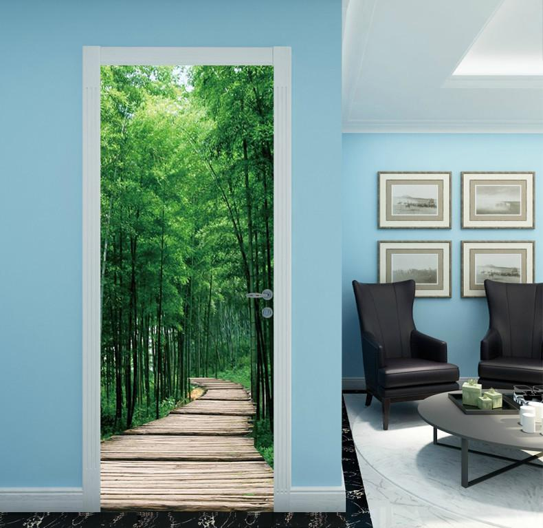 3D bamboo forest brick road bamboo leaf door mural & 3D bamboo forest brick road bamboo leaf door mural | AJ Wallpaper pezcame.com