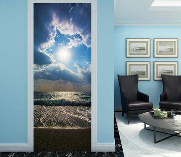 3D blue sea beach door mural Wallpaper AJ Wallpaper