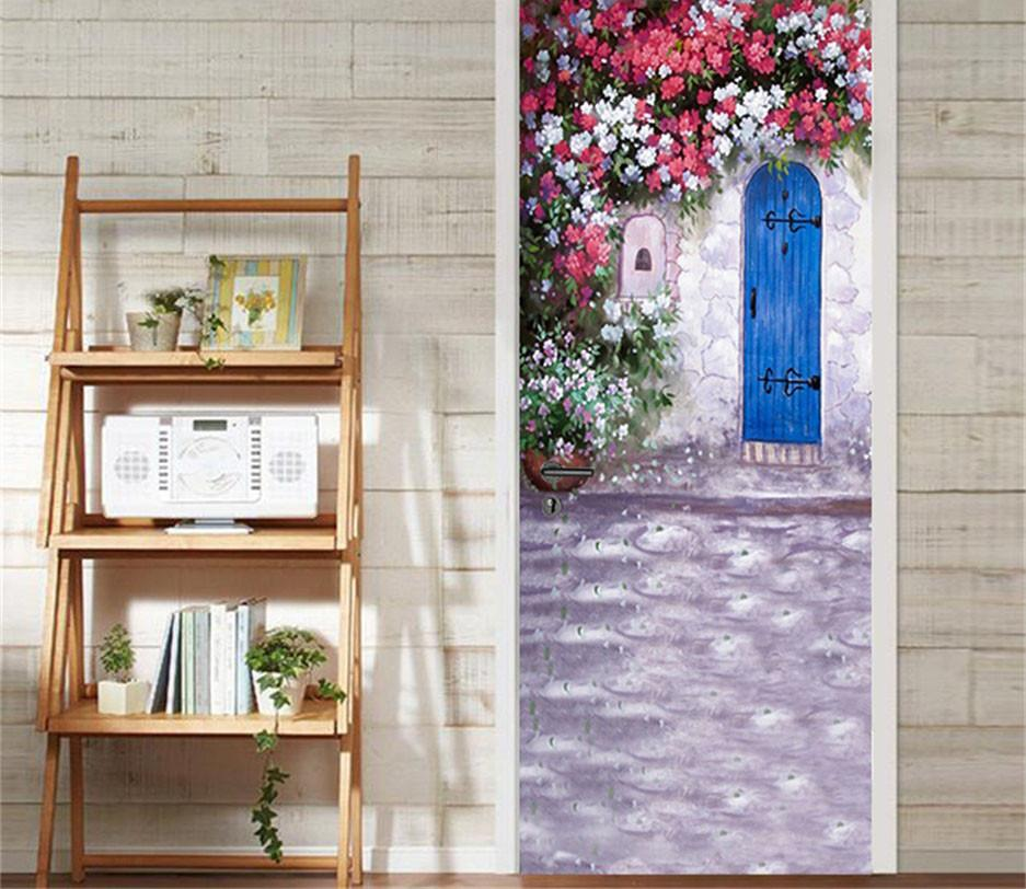 3D flowers on the roof door mural Wallpaper AJ Wallpaper