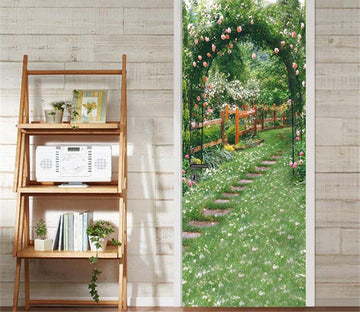 3D steps on the grass flower arch door mural Wallpaper AJ Wallpaper