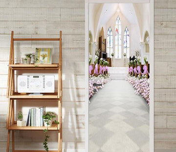 3D auditorium church white door mural Wallpaper AJ Wallpaper