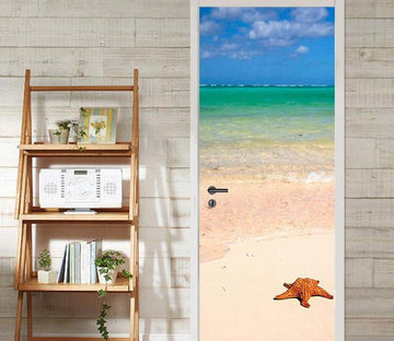 3D beach sea and starfish door mural Wallpaper AJ Wallpaper
