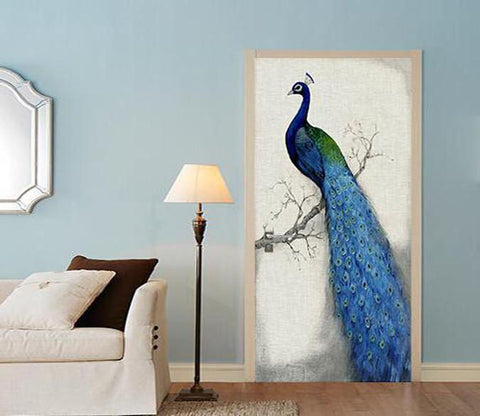 3D peacock painting door mural