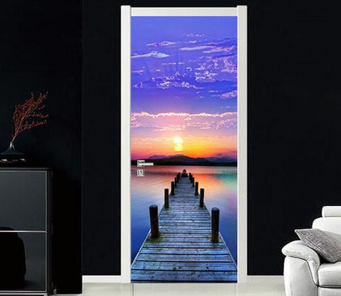 3D sunset glow lake plank bridge stump door mural Wallpaper AJ Wallpaper