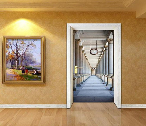 3D rome promenade painting door mural Wallpaper AJ Wallpaper