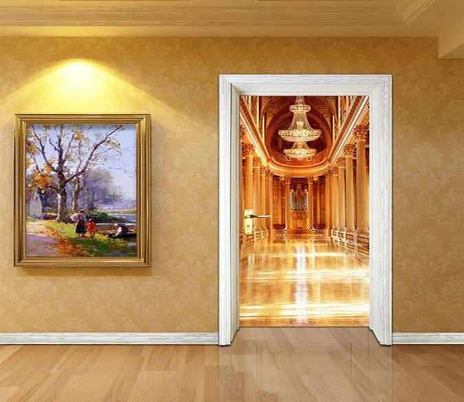 3D golden top church door mural Wallpaper AJ Wallpaper