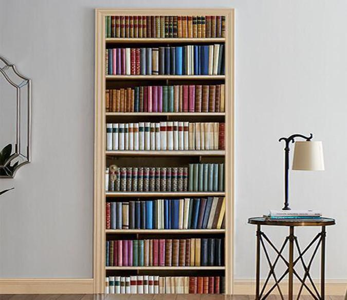 3D bookcase admission design door mural Wallpaper AJ Wallpaper