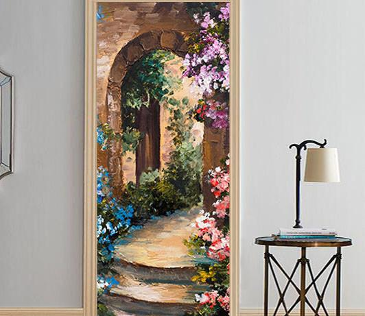 3D arch flower painting door mural & 3D arch flower painting door mural | AJ Wallpaper