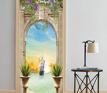 3D arch sailing sea door mural Wallpaper AJ Wallpaper