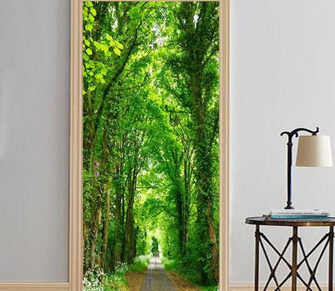 3D tree green trees street door mural Wallpaper AJ Wallpaper