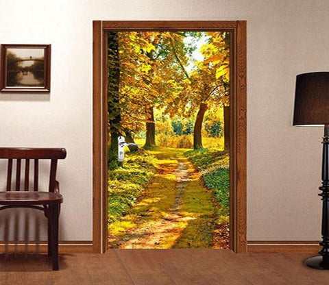 3D sunshine yellow leaves yellow road door mural Wallpaper AJ Wallpaper
