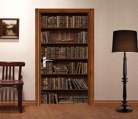 3d Bookcase storage consolidation door mural Wallpaper AJ Wallpaper