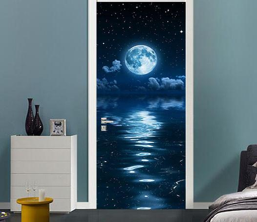3D sea view under the stars door mural Wallpaper AJ Wallpaper