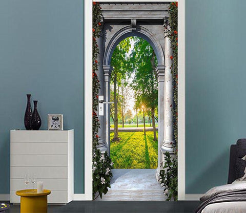 3D arch trees sunshine door mural Wallpaper AJ Wallpaper