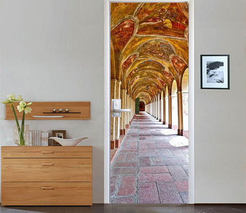 3D arc arch classical corridor door mural Wallpaper AJ Wallpaper