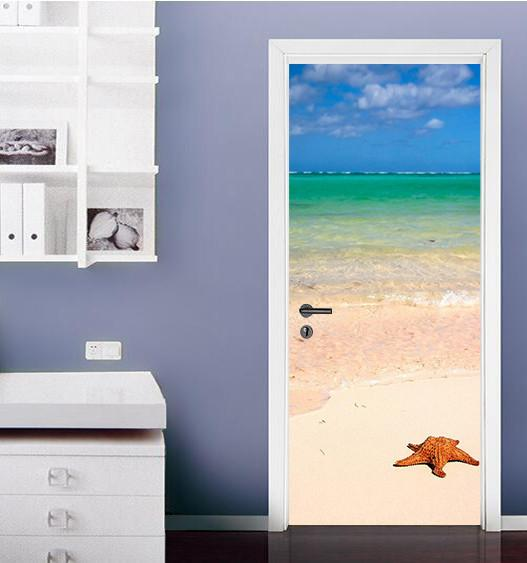 3D blue beach starfish door mural Wallpaper AJ Wallpaper