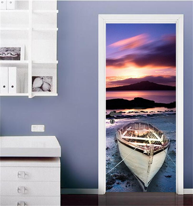 3D sea sunset sunset door mural Wallpaper AJ Wallpaper