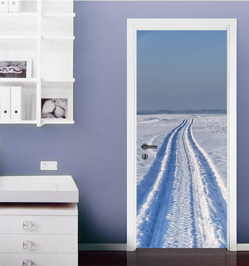 3D road in the snow door mural Wallpaper AJ Wallpaper
