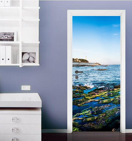 3D seaside seascape door mural Wallpaper AJ Wallpaper