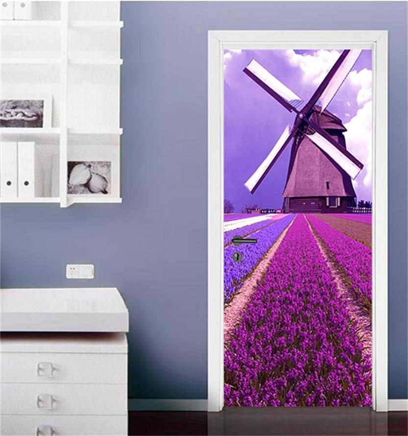 3D lavender field windmill door mural Wallpaper AJ Wallpaper