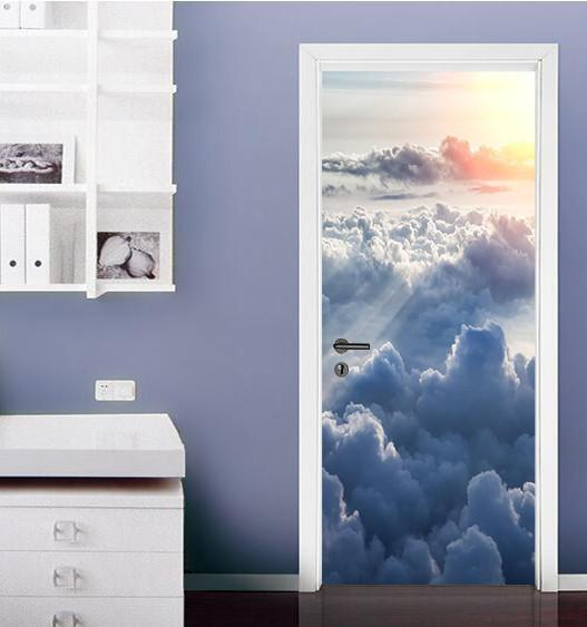 3d blue sky and white clouds sunrise door mural
