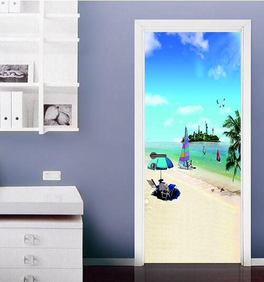 3D sandy beach blue sky sailing door mural Wallpaper AJ Wallpaper