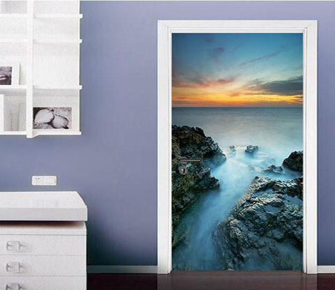 3D sea sunset glow door mural