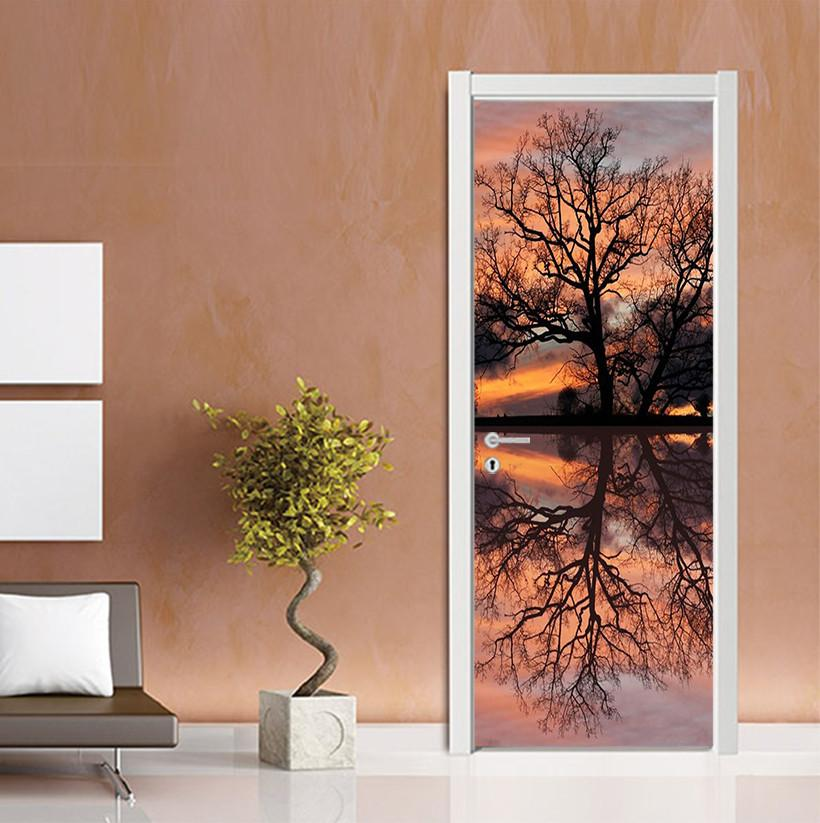 3D reflection of the water tree door mura Wallpaper AJ Wallpaper