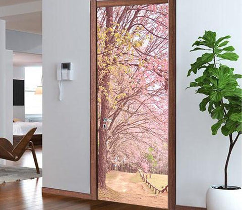 3D blooming tree door mural Wallpaper AJ Wallpaper