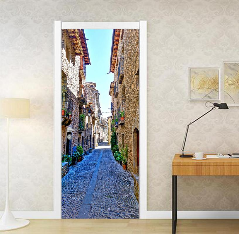 3D city alley scenery door mural Wallpaper AJ Wallpaper