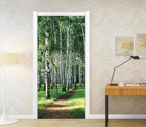3D dirt road in the woods door mural Wallpaper AJ Wallpaper