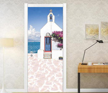 3D beside the sea white House door mural Wallpaper AJ Wallpaper