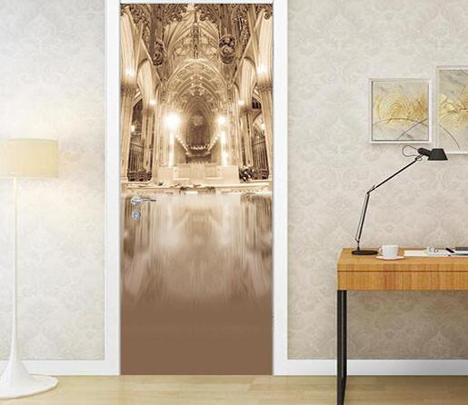 3D top lighting church door mural Wallpaper AJ Wallpaper