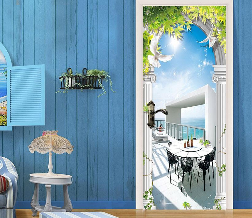 3D vine arch seascape door mural Wallpaper AJ Wallpaper