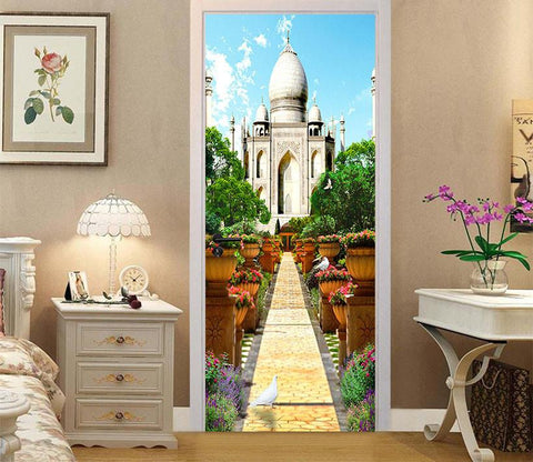 3D auditorium flower door mural Wallpaper AJ Wallpaper