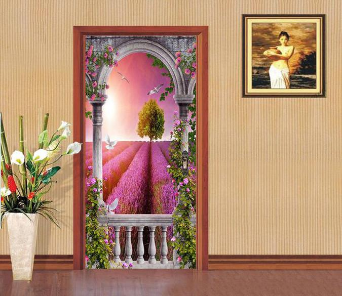 3D dove of peace lavender door mural Wallpaper AJ Wallpaper