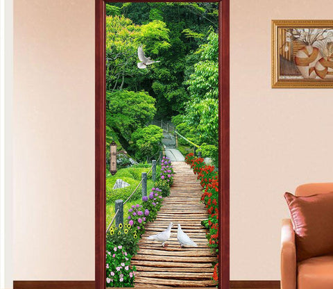 3D wooden bridge the seagulls door mural Wallpaper AJ Wallpaper