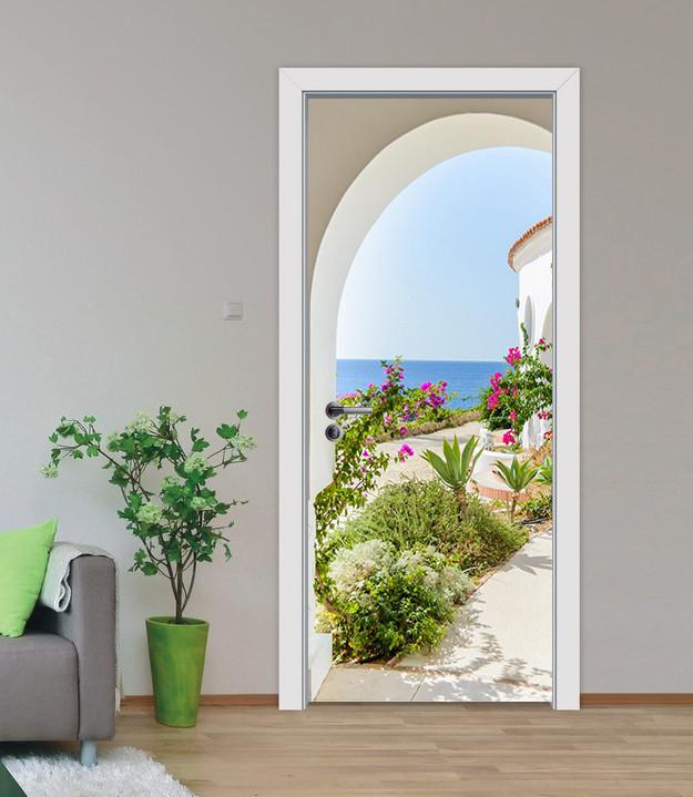 3D blue seascape door mural