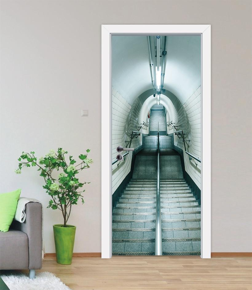 3D downhill slope corridor tunnel door mural Wallpaper AJ Wallpaper