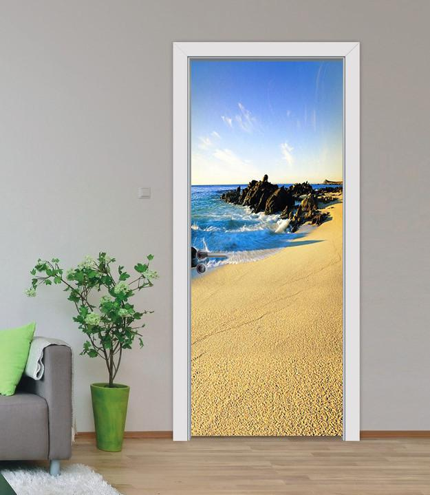 3D sandy beach stones door mural Wallpaper AJ Wallpaper