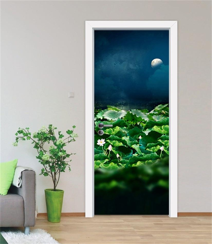 3D lotus pond in the night door mural Wallpaper AJ Wallpaper