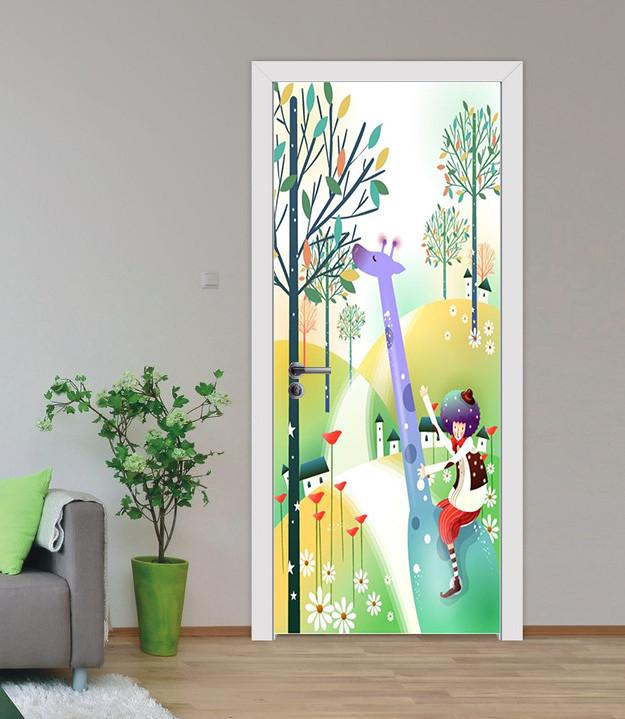 3D giraffe branch graffiti door mural Wallpaper AJ Wallpaper