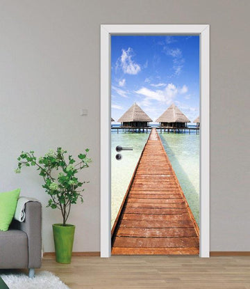 3D blue sea bridge door mural Wallpaper AJ Wallpaper