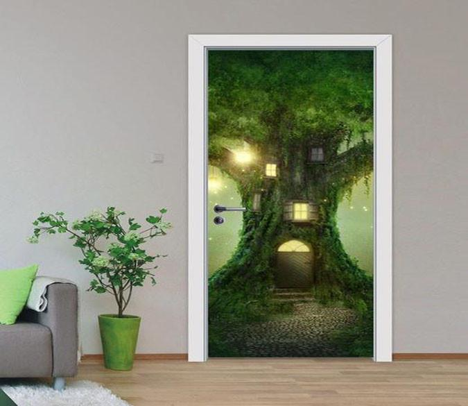 3D House The Tree Forest Door Mural