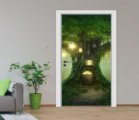 3D house the tree forest door mural Wallpaper AJ Wallpaper
