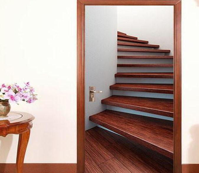 3d wooden stairs door mural - Wooden Stairs